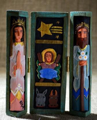 Tallas en Madera Policromada: Verde y Azul